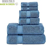 804 GSM 6 Piece Towels Set, 100% Cotton, Premium Hotel & Spa Quality, Highly Absorbent, 2 Bath 27 x 54, 2 Hand Towel 16 x 28 and 2 Wash Cloth 12 x 12. Blue Color
