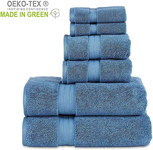 "804 GSM 6 Piece Towels Set, 100% Cotton, Premium Hotel & Spa Quality, Highly Absorbent, 2 Bath 27"" x 54"", 2 Hand Towel 16"" x 28"" and 2 Wash Cloth 12"" x 12"". Blue Color"