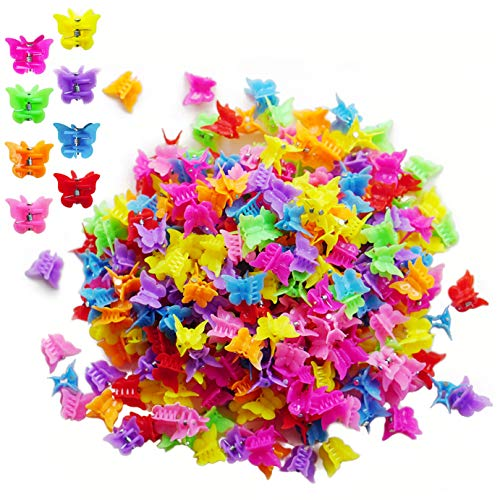 Kingrol 300 Pieces Mini Claw Clips, Multi-Colored Butterfly Hair Clips for Girls and Women