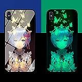 Carcasa de Telefono,Funda Protectora para iPhone Funda para Teléfono 3D Carcasa de Vidrio Templado Brillo Nocturno Mariposa Antifricción Anime Serie (Compatible con iPhone X)