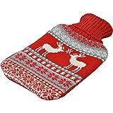 Bouillotte grand format - housse en tricot - gris/rouge - renne de Noël