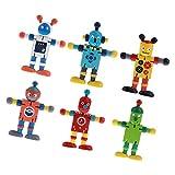 Harilla 6pcs Flexible Wooden Walnut Puppets Robot Action Figure Plays