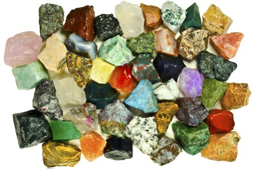 Fantasia Materials: 3 lbs (Best Value) of Exclusive Premium Asia Stone Mix - Raw Natural Crystals & Rocks for Cabbing, Cutting, Lapidary, Tumbling, Polishing, Wire Wrapping, Wicca & Reiki