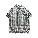 Camisa de Manga Corta para Hombre Primavera y Verano Camisa clásica Pura a Cuadros Informal de Manga Corta Camisa Suelta con Bordado de Dibujos Animados Personalizados XL