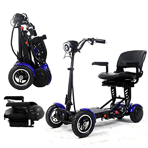 Scooter de movilidad plegable, sillas de ruedas eléctricas, portátiles, ligeras, motorizadas de 4 ruedas con asiento para adultos mayores mayores de edad con discapacidad (36V15.6AH/40KM, rojo)
