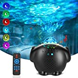 Star Projector Night Light for Kids, 4 in 1 LED Galaxy Light Projector with Moon & Star, Ocean Wave Projector Room Decor with Bluetooth Music Speaker, Voice Control, Night Light Projector for Bedroom