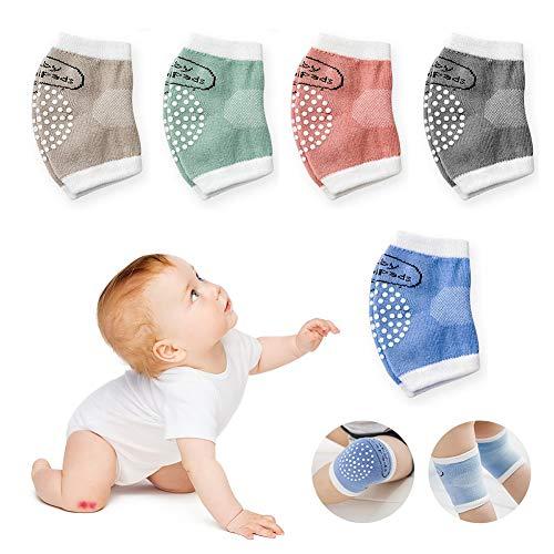 JAWSEU Lot de 5 Paires de genouillères en Coton tricoté avec Points en Caoutchouc pour bébé 0-2 Ans