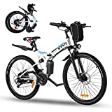 Vivi 26' Folding Electric Bike,350W Electric Mountain Bike,Adults Ebike with Removable 36V 8Ah Battery,Shimano 21 Speed Electric Bikes for Adults,Double Shock Absorption,20MPH & 50 Mile Range (White)