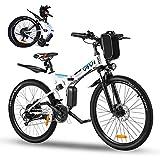 Vivi Vélo Électrique Pliable, 26' VTT Electrique Homme Femme, 250W Vélo Électrique en Montagne pour Adulte,Batterie Amovible 36V / 8AH,Professionnel 21 Vitesses E-Bike,Jusqu'à 25km/h(Blanc)