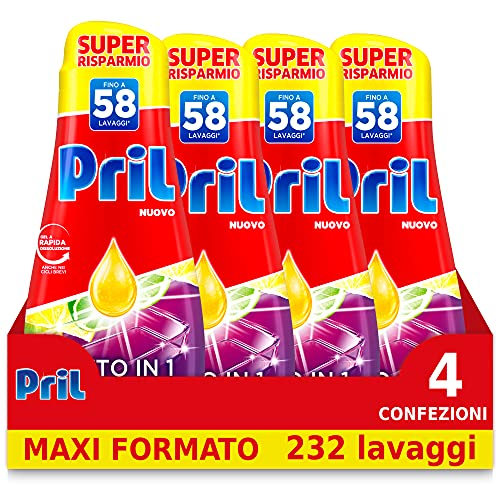 Pril Gel All in One Limone Detersivo Lavastoviglie Liquido Multi-Azione Sporco Difficile, 4 Confezioni da 58 Lavaggi