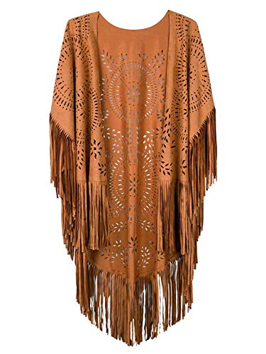 Rostiumise Fringe Faux Suede Kimono Cape for Women Sleeveless VShape Laser Brown Cut Beach Cover ups Elegant Soft Casual Shawl