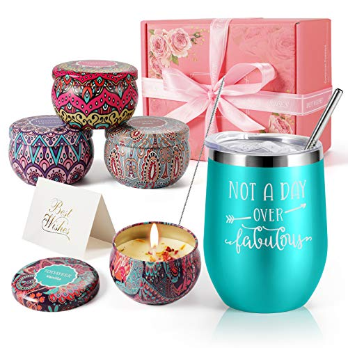 Birthday Gifts for Her - Insulated Wine Tumbler and Candles Gift Set 4 Pack Gifts for Women Mom Sister Friends Female - Stainless Steel Wine Tumbler with Lid - Funny Wine Tumblers for Women