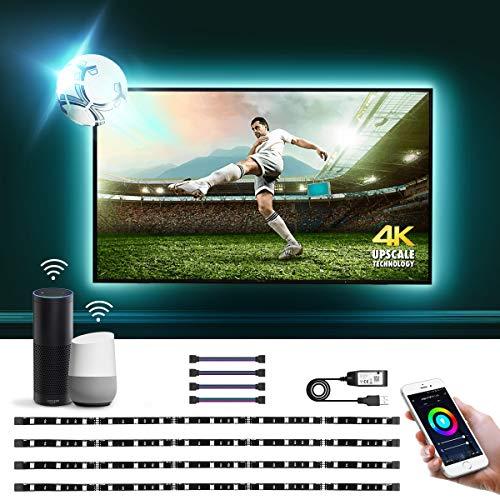 Lepro Striscia LED RGB Intelligente Alexa per TV USB Ricaricabile 2M, Striscia LED Smart WiFi Controllo da Voce e App, 16 Milioni Colori e Strisce RGB Dimmerabile Compatibile con Alexa/Google Home