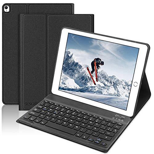 SENGBIRCH Teclado Funda para iPad 10.2 2019(7ª Generación), Teclado Español Bluetooth para iPad 10.2 /iPad Air 3 10.5 /iPad Pro 10.5, con Slim Inteligente Magnético Removable Cover, Negro