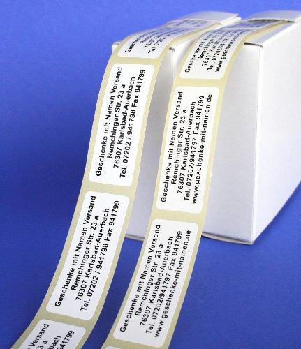 ADRESS-AUFKLEBER mit Wunschtext | mit schwarzer Schrift, 300 Stück | Namens-Aufkleber, individuell, ca. 51 x 19 mm, für 1 bis 5 Zeilen Text