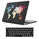 iLeadon MacBook New Pro 13' Case 2016-2019 Release A2159/A1989/A1706/A1708 Rubberized Hard Shell Case Cover+Keyboard Cover for MacBook Pro 13 W/Without Touch Bar & Touch ID, Black Map
