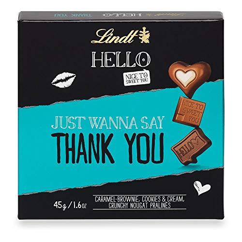 Lindt HELLO Thank You Pralinen, Caramel-Brownie, Cookies & Cream und Crunchy Nougat, 45 g