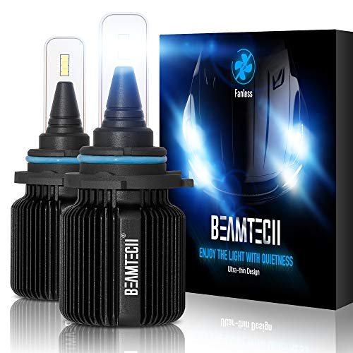 BEAMTECH 9006 LED Bulbs,Fanless CSP Y19 Chips 6500K Xenon White HB4 Extremely Bright Conversion Kit Ultra Thin All In One Halogen Replacement