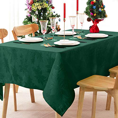 Christmas Table Cloths Rectangle - 60 x 120 Inch Elegance Jacquard Tablecloth, Washable Polyester Tabletop for Kitchen Dinning, Holiday Dinner