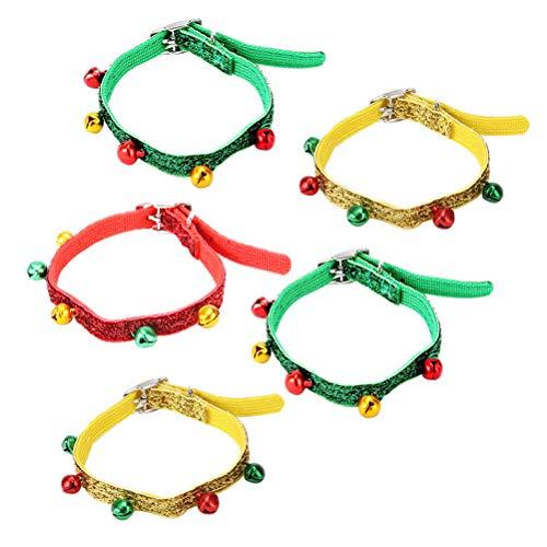 iplusmile 5 stücke Eine Tasche Einstellbare Katze Hund Glocke Kragen Dekorative Haustier Hals Kette Entzückende Haustier Hals Ring (Zufällige Farbe)