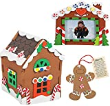 3 PC Foam Gingerbread House Kit Build it Yourself - Christmas Crafts for Kids, Legend of the Gingerbread Man, Picture Frame Foam Craft Kit - DIY Holiday Activity Arts and Crafts by 4E's Novelty