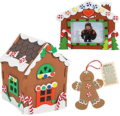 6 Pc Foam Gingerbread House Kit Build it Yourself (2 of Each) Christmas Crafts for Kids, Gingerbread Man, Picture Frame Foam Craft - DIY Holiday Activity Arts and Crafts by 4E's Novelty