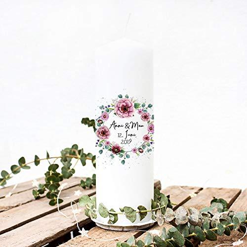 ilka parey wandtattoo-welt Hochzeitskerze Kerze zur Hochzeit Trauung Traukerze Vermählung mit Blumenkranz Pfingstrosen Wunschnamen & Datum wk100