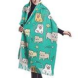 maichengxuan Cute Cat Cartoon Soft Shawl Scarf Cashmere Scialli Sciarpe For Women Men