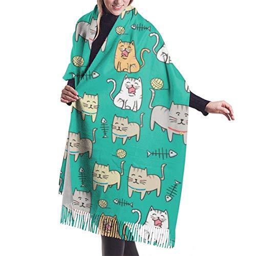 Bernice Winifred Lindo gato de dibujos animados suave chal bufanda bufanda de invierno de cachemira para mujeres hombres-negro