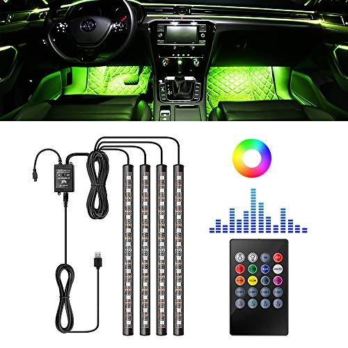 LncBoc Luz Interior Coche Led Tira LED para Coche, 4Pcs 48 LED 8 Colores Luces de Ambiente LED Luces Decorativas Con Música de Múltiples Colores DIY + Control Remoto de Rayos + Carga USB