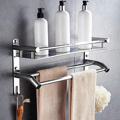 YSNJG Toallero con gancho de acero inoxidable cepillado, montaje en pared para baño y cocina, color plateado A 50 cm