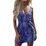 Damen Kleider Sommer Kurzarm V-Ausschnitt Gurt Weste Sexy Schlangen-Print Kleider Strandkleid Blumendruck Nähte Kleid Polyester lässig Minikleid (EU:40, Blau)