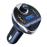 AMIR Bluetooth FM Trasmettitore, Adattatore Bluetooth Wireless in-Car, Caricabatterie per Auto con 2 porte USB 5V/2.1A e 1A, Lettore MP3 Auto, Kit Vivavoce Auto per iPhone, Samsung, Smartphones