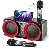 Crtkoiwa Sistema de Karaoke Bluetooth, Sistema de Karaoke con 2 MicróFonos InaláMbricos, Altavoces Bluetooth con Verdadero Sonido Envolvente EstéReo, Adecuado para Reuniones Familiares, Bodas, Picnics