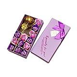 Txyk Románticos Regalos 12 Piezas Jabón Rosa y Hoja de Oro de 24 k Flores de pétalos de Rosa con Caja de Regalo(púrpura)