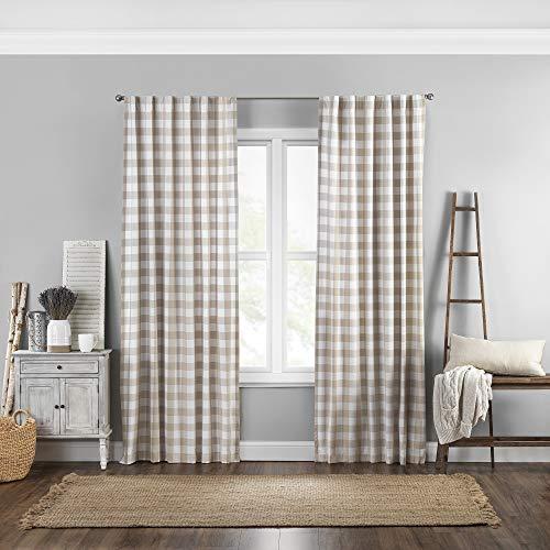 "Elrene Home Fashions Farmhouse Living Buffalo Check Window Curtain Panel, 52"" x 84"" (1, Tan/White"