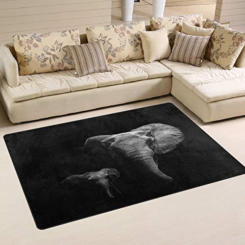 Marlon Kitty Alfombra de Elefante Animal Negro Alfombra de Piso Alfombra Lavable Decoración Alfombra de Sala de Estar Alfombra de 60 x 39 Pulgadas