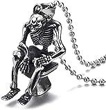 Collana da uomo vintage in acciaio con teschio, scheletro seduto sulla toilette, collana con pendente 30 in catena