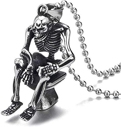 Herren Vintage Stahl Schädel Halskette Skelett Sitzen auf Toilette Anhänger Halskette 30 in der Kette