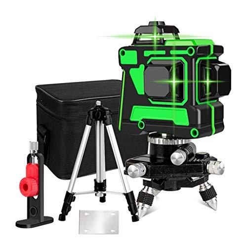 12 Líneas 3D Nivel Láser Verde Autonivelante Líneas Cruzadas Horizontales Y Verticales De 360 Grados Línea Láser Verde Con Batería De Trípode