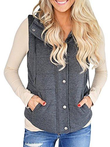 Ofenbuy Womens Vest Lightweight Quilted Drawstring Jacket Casual Button Closure Outerwear Dark Grey Medium