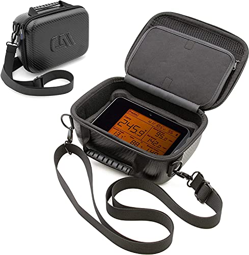 CASEMATIX Golf Launch Monitor Travel Case Compatible with Voice Caddie Swing Caddie SC300 Launch Monitor and Remote, USB Cable & Accessories - Hard Shell Case with Shoulder Strap for Golf Simulator