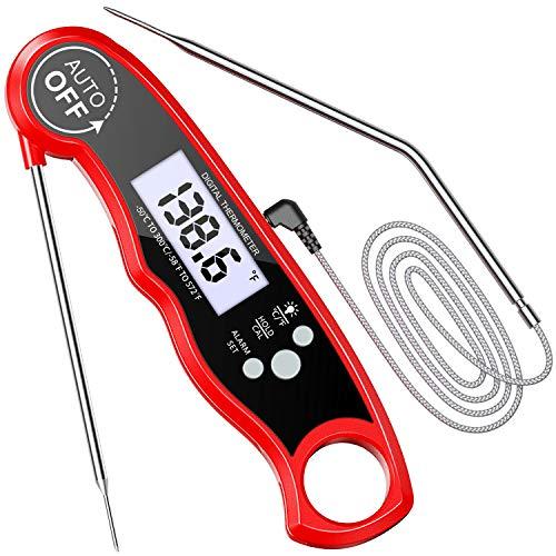 Cocoda Fleischthermometer Grillthermometer, LCD Digitales Bratenthermometer Küchenthermometer mit 2 Edelstahlsonden & Langem Draht & Magnet, Temperatur Voreinstellung für Küche Grillen Ofen Smoker Öl