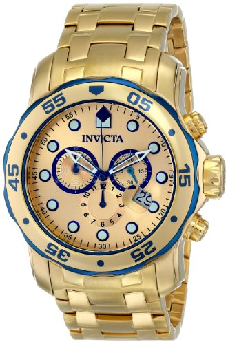 Invicta 80069 Men's Pro Diver Scuba Gold Dial Gold Plated Steel Chronograph Dive Watch