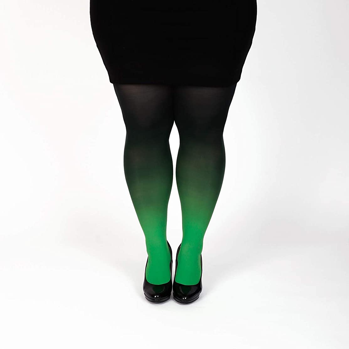 Green plus size semi opaque tights gradient pantyhose Christmas gift for her