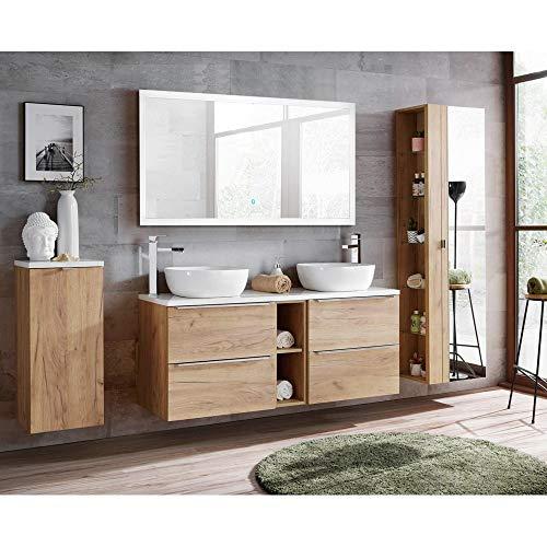 Lomadox Komplett Badmöbelset in Wotaneiche, Doppel-Waschtisch inkl. 2 Keramikwaschbecken, LED-Spiegel, Hochschrank & Wäschesammler