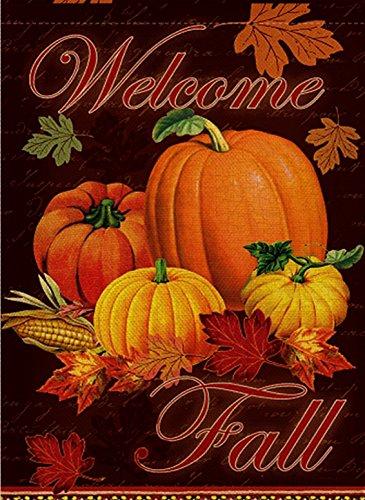 Dyrenson Home Decorative Outdoor Happy Fall Yall Quote Garden Flag Double Sided, Autumn House Yard Flag, Rustic Harvest Pumpkin Yard Decorations, Maple Leaf Corn Vintage Seasonal Outdoor Flag 12 x 18