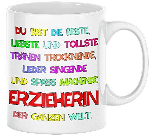 TassenSachen Danke-Tasse Du bist die liebste und tollste Erzieherin der ganzen Welt- zum Kindergartenabschied für Kindergärtnerin mit Grußkarte - Kaffeetasse Teetasse ca. 330 ml