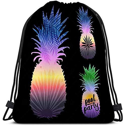 Sport Trekkoord Tas Ananas Silhouette Tropische Palm Bladeren Zwart Element Gefeliciteerde Kaarten