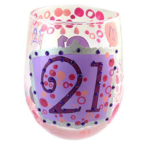 Les Trésors De Lily [P1363 - Schätze der Lilie [p1363] - schöpfer weinglas '21' pink (stemless weinglas)- 10 cm.